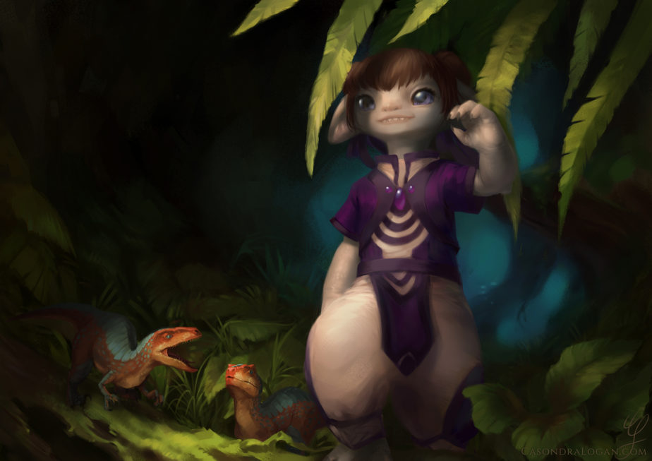 Violet, an asuran looks out upon the vastness of the Maguuma Jungle, accompanied by a pair of Pocket Raptors.