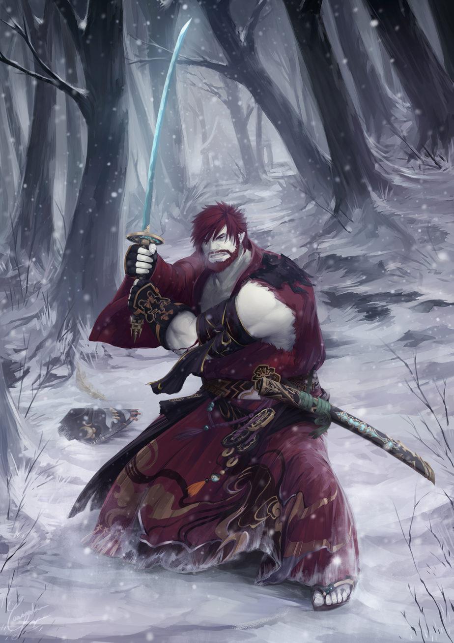 A Roegadyn Samurai, standing fierce on a snowy field, blade drawn, ready for battle.